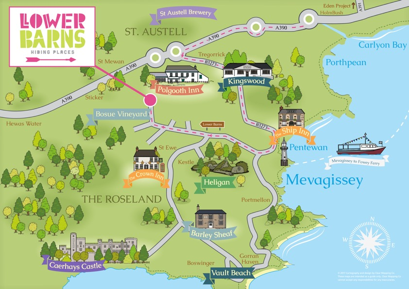 map of things to do at lower barns boutique wedding venue cornwall